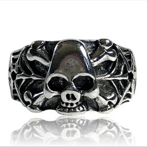 Spider Web Skull and Crossbones Skeleton Ring